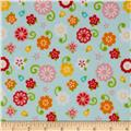 Riley Blake Flannel Simply Sweet Flower Blue