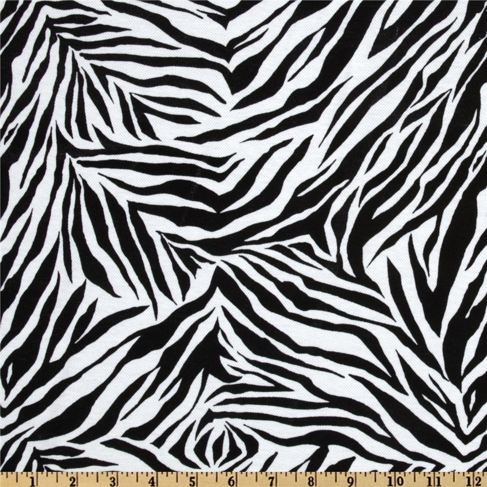 Cotton Pique Knit Zebra Stripes White/Black