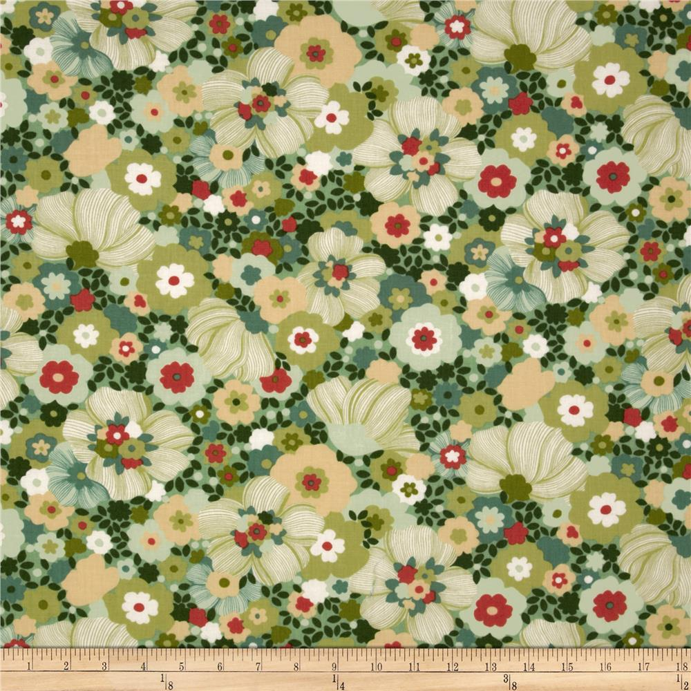 Moda Chirp Chirp Blooms Leaf Green