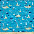 Timeless Treasures Hey Sailor Boating Scenic Water Blue