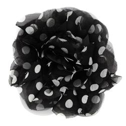Capri Polka Dot 4 1/2'' Brooch Black/White