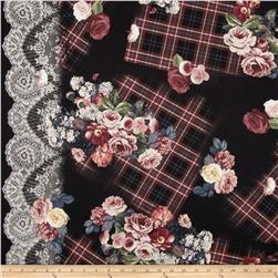 Michael Miller Tartan Floral Rose Single Border Black
