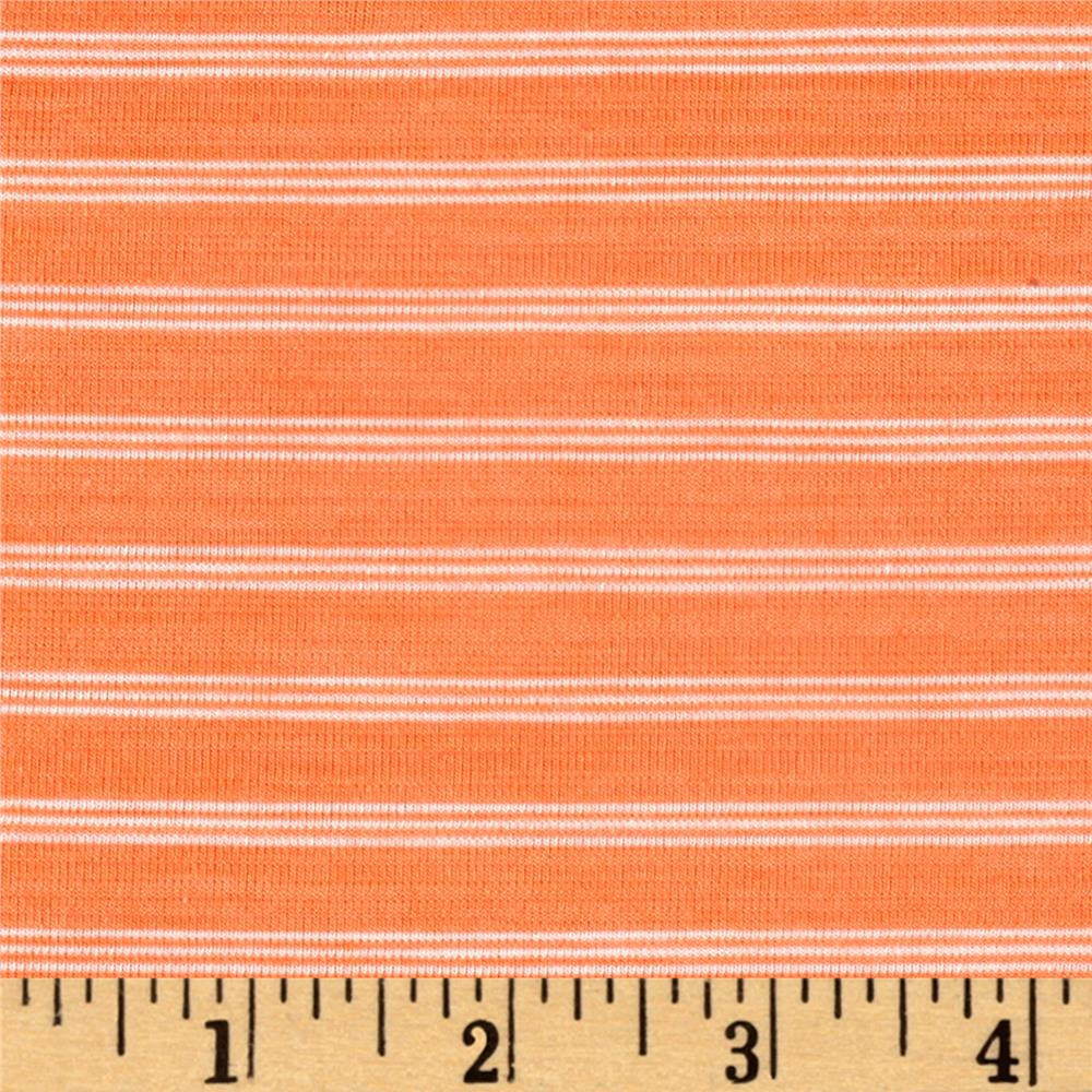 Jersey Knit Mini White Stripes on Tangerine
