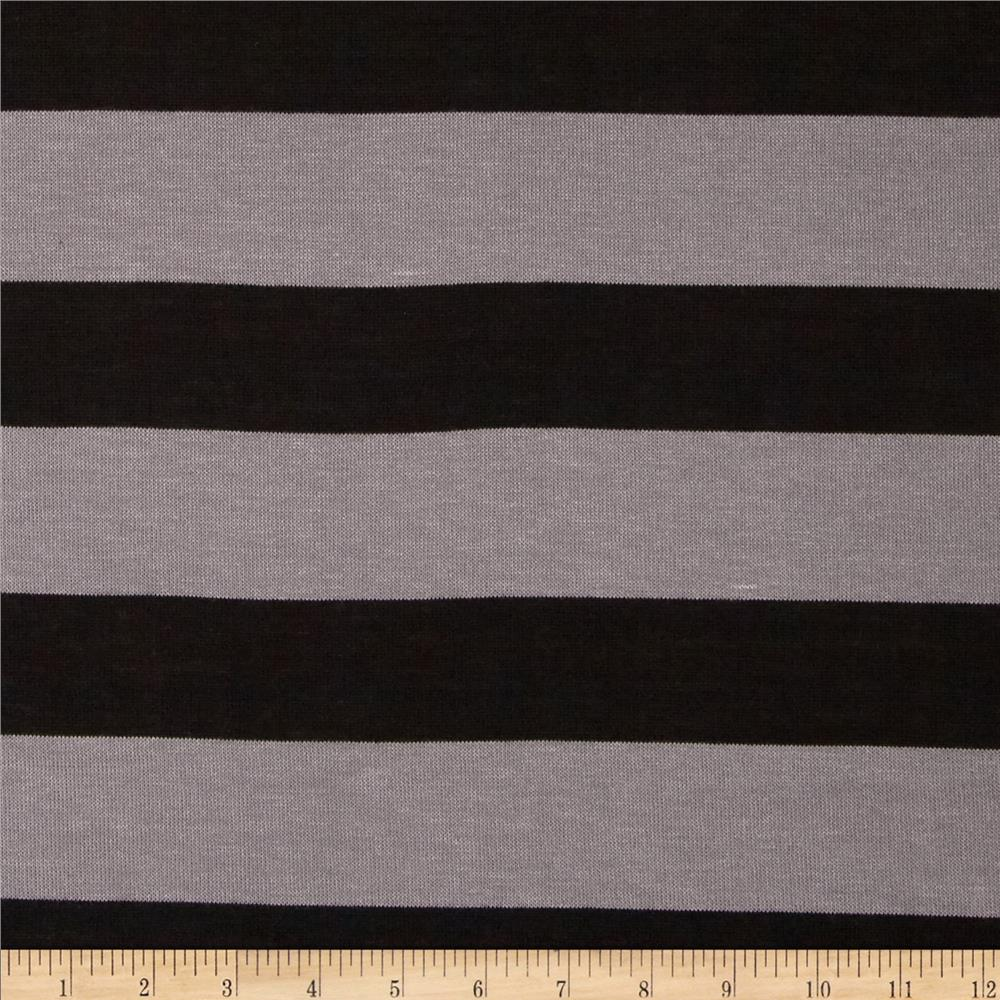 Stretch Yarn-Dyed Hatchi Knit Stripes Black/Grey