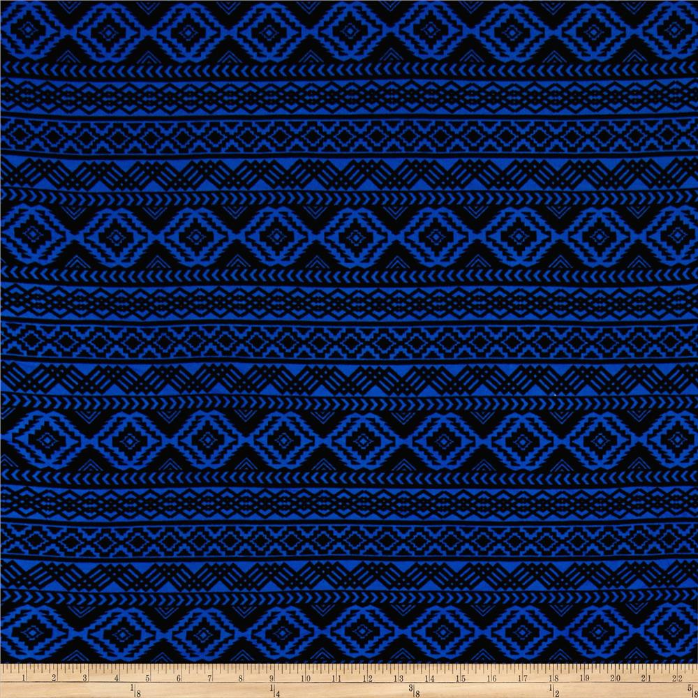 Jersey Knit Aztec Print Royal Black
