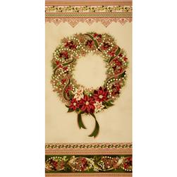 Robert Kaufman Holiday Flourish Metallic 24 In. Wreath Panel Country