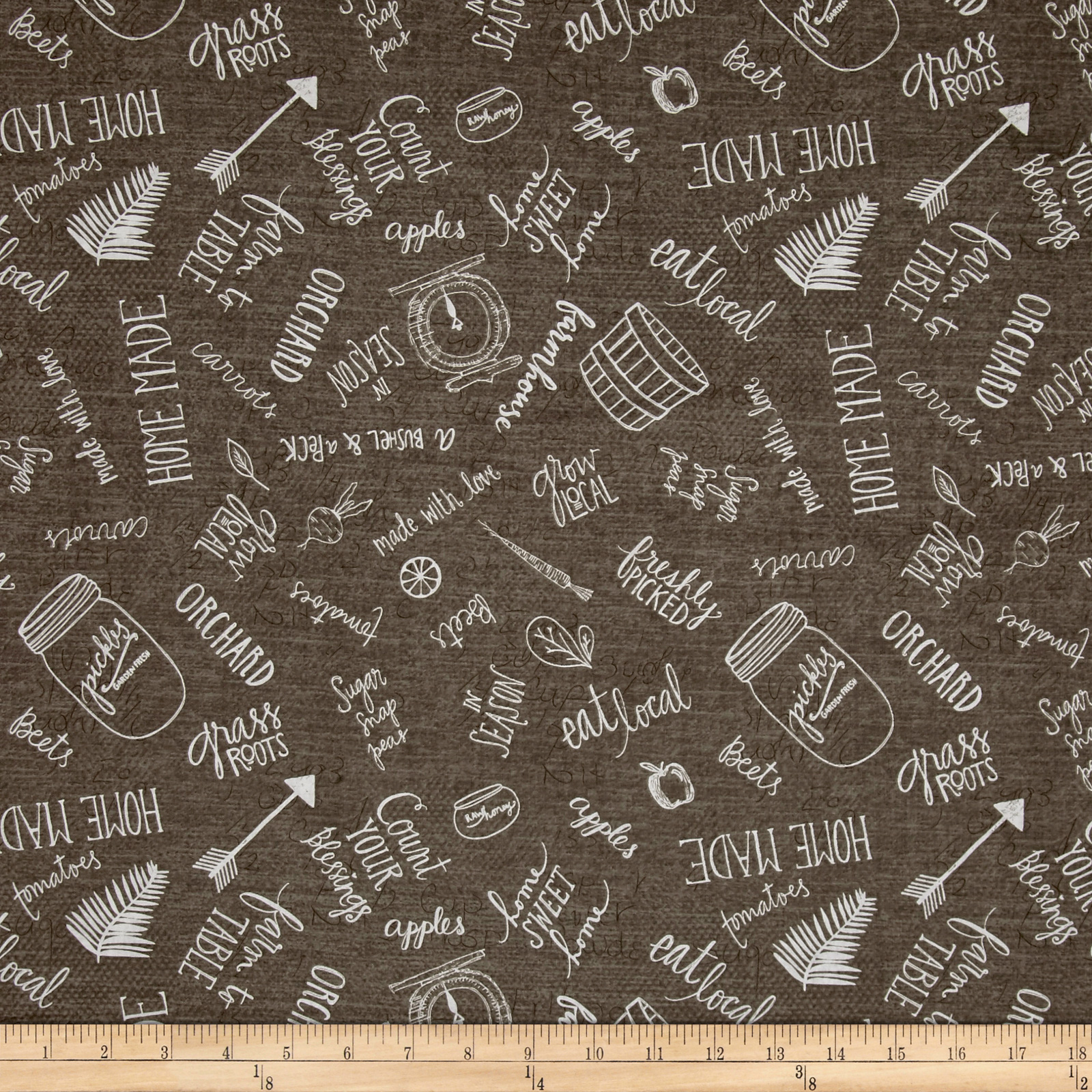 Image of Freshly Picked Kitchen Toile Dark Gray Fabric