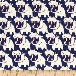 Seven Islands Double Cotton Gauze Hippos Blue