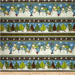 Swirly Snowmen Repeating Stripe Multi