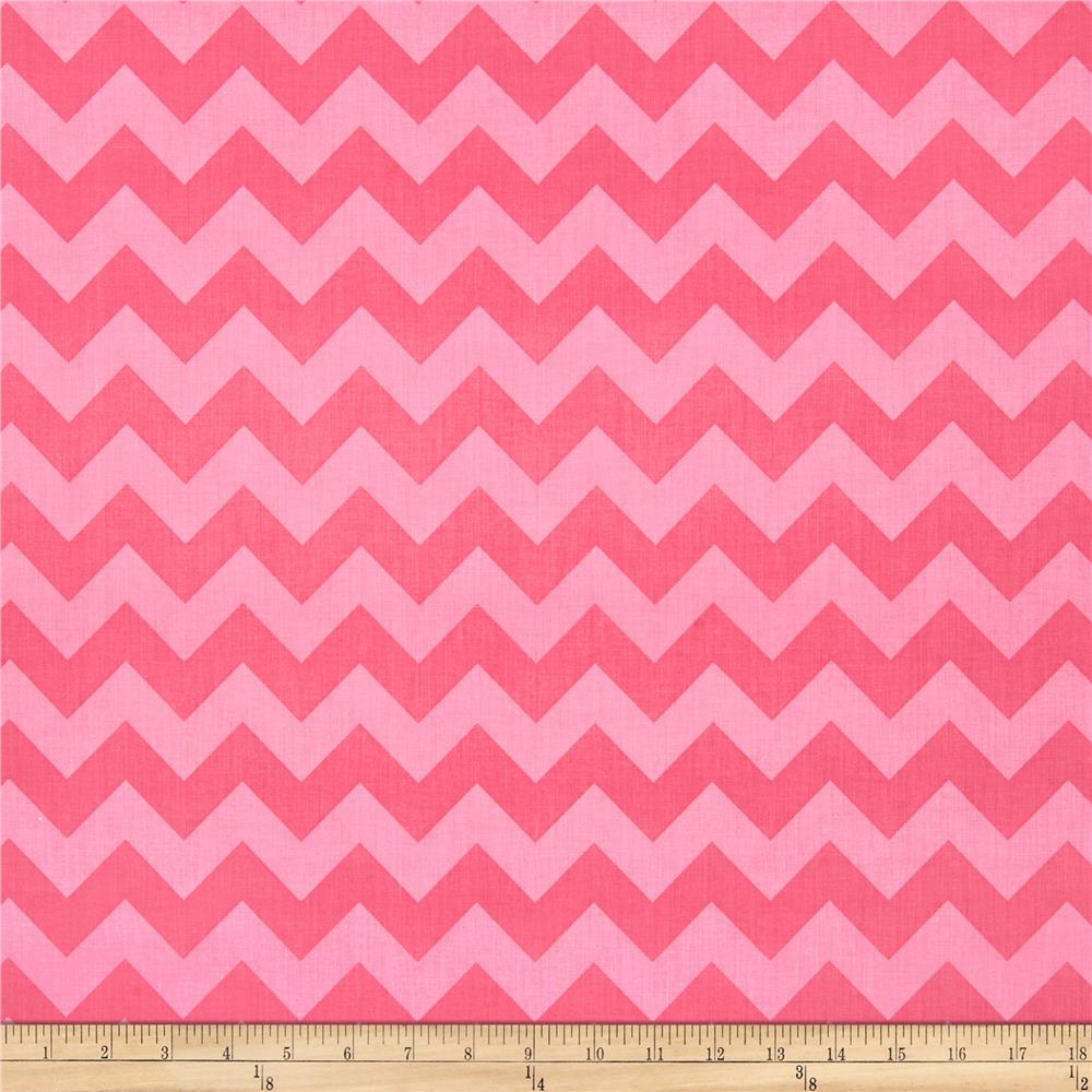 Riley Blake Wide Cut Chevron Medium Tone on Tone Hot Pink