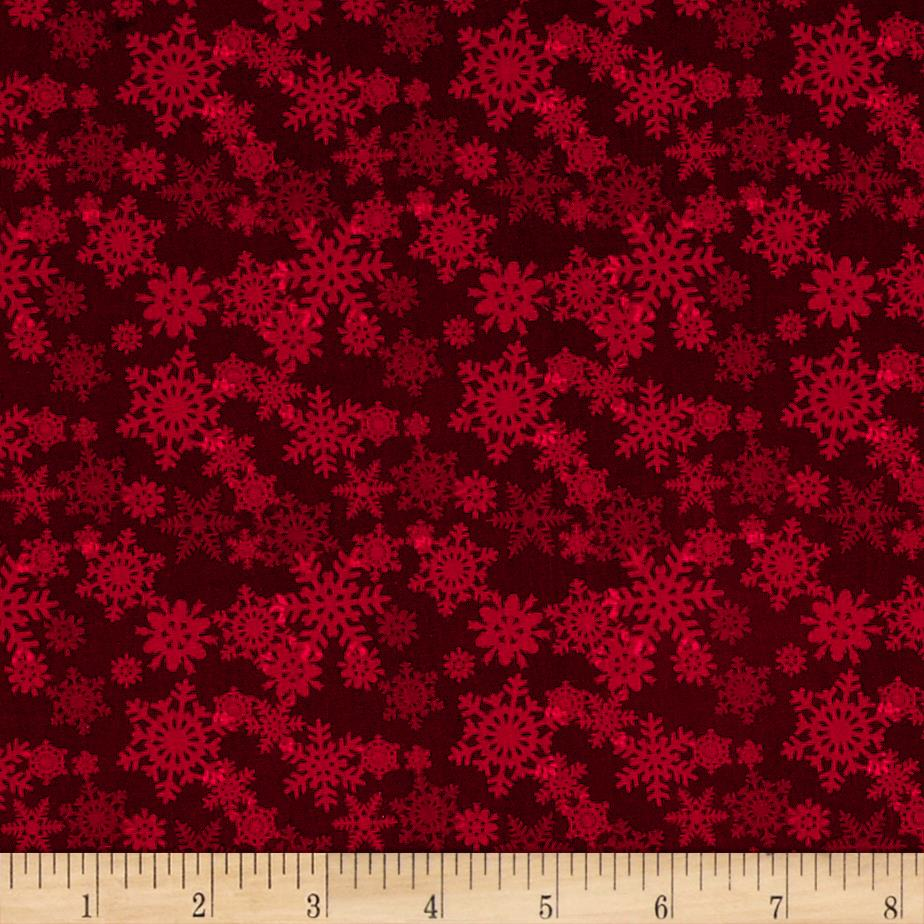 Glad Tidings Snowflakes Red Fabric