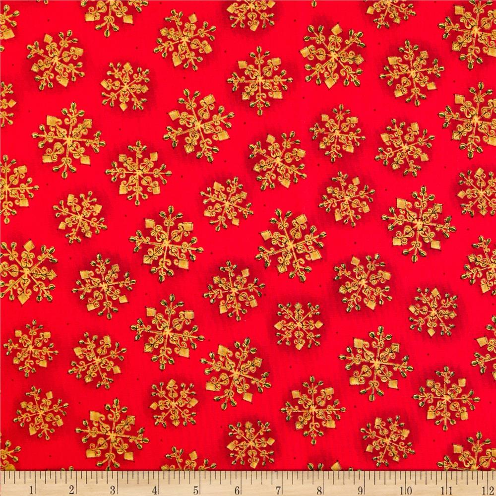 Christmas Splendor Snowflakes Red