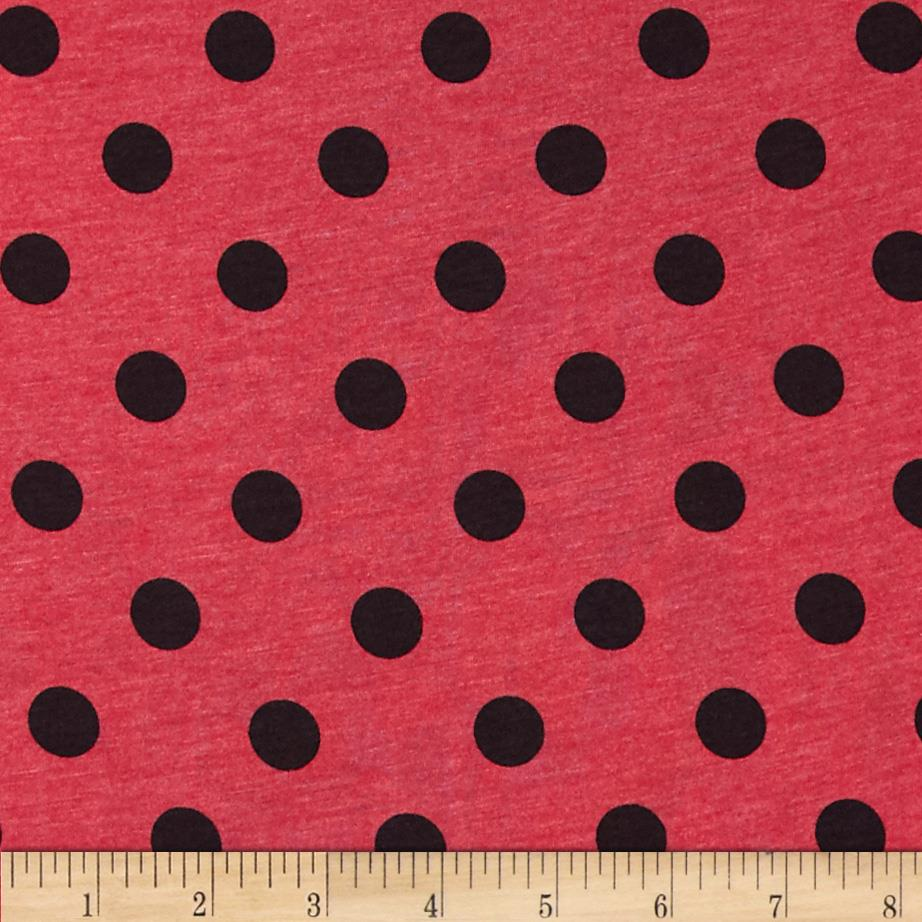 Cotton Jersey Knit Polka Dots Heather Red