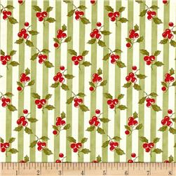 Moda Snowfall Prints Holly Garland Green