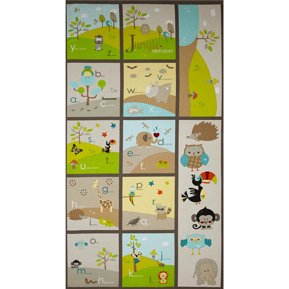 Riley Blake Life In The Jungle Panel Alphabet Panel Grey