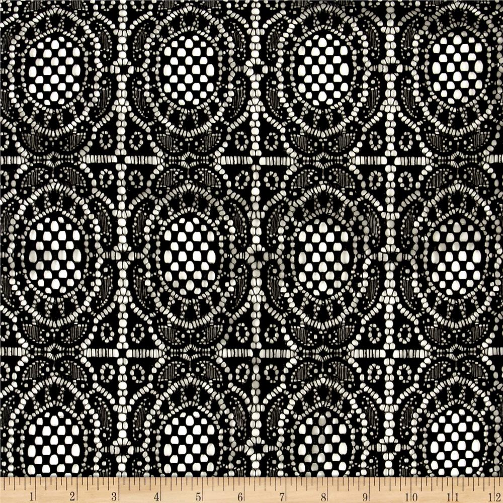 Floral Crochet Stretch Lace Knit Black Fabric By The Yard