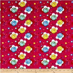 Corduroy Print Happy Face Fuschia
