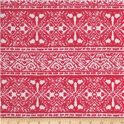 Liverpool Double Knit Print Geo Ethnic Dark Coral/Off White