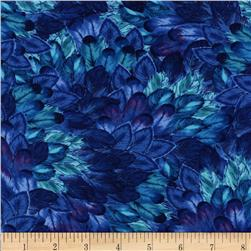Timeless Treasures Belize Packed Feathers  Blue