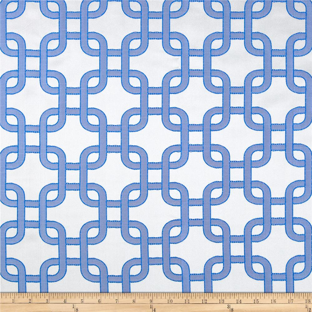 Roller Chain Link Satin Jacquard Blue/Grey Fabric By The Yard