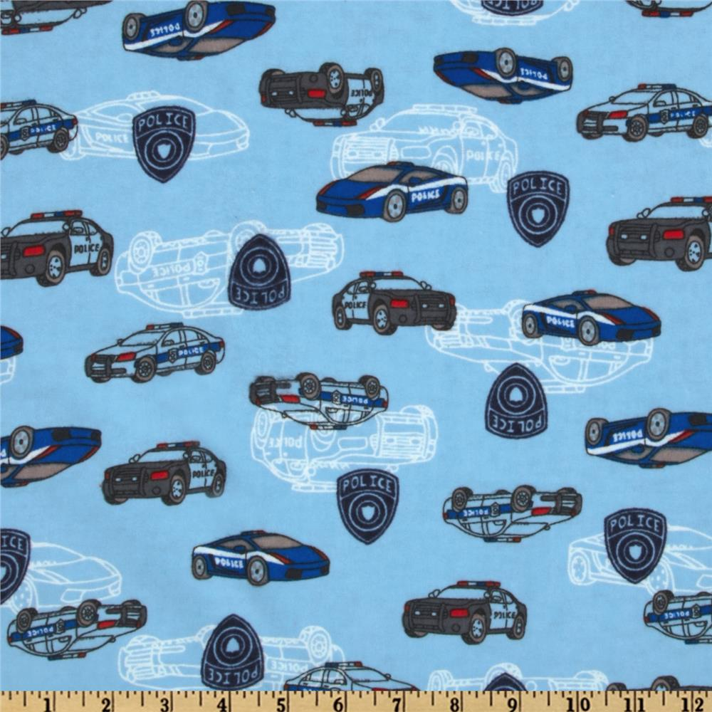 Camelot Flannel Police Cars Blue