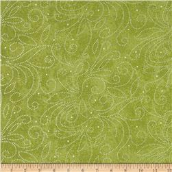 "110"" Wide Quilt Backing Scroll Green"