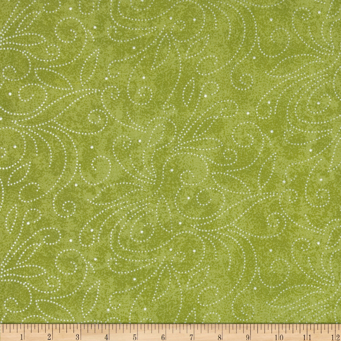 110'' Wide Quilt Backing Scroll Green Fabric