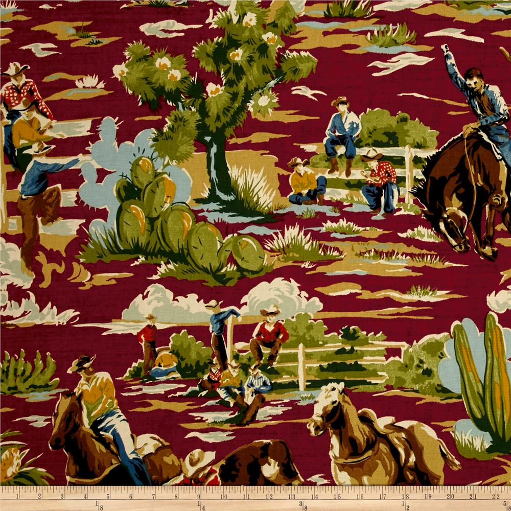 Braemore Ride Em Cowboy Chili Discount Designer Fabric