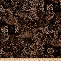 "44"" Wide Quilt Packed Floral Brown"