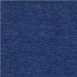 Basic Cotton Blend Rib Knit Heather Marine Blue