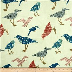 Summerland Tossed Birds Cream Fabric