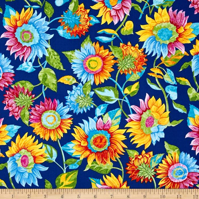 Marblehead Butterflies Are Free Sunflower Blue Fabric