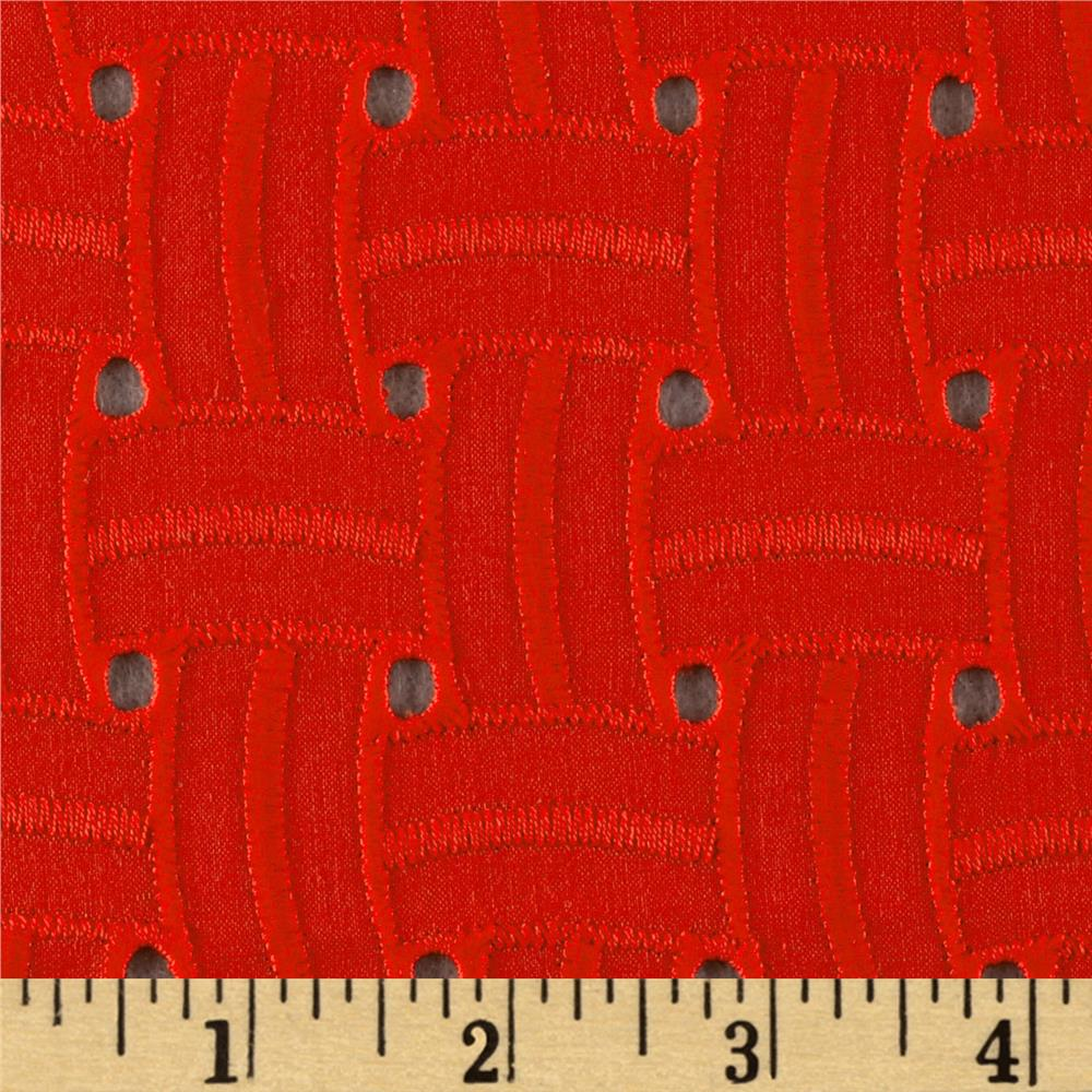 Basket Weave Cotton Eyelet Orange