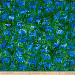 Island Batik Woodland Animals Green/Blue