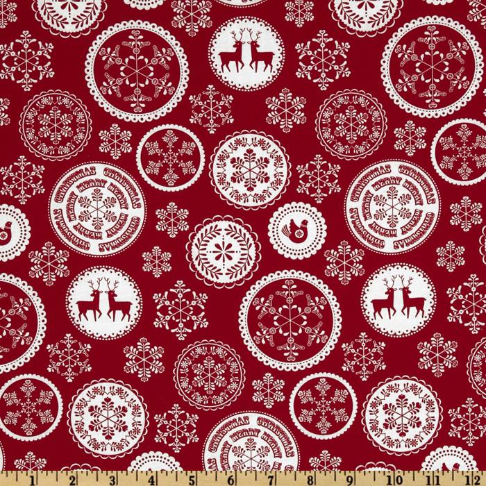 Merry Christmas Snowflake Doily Red
