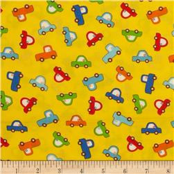 Baby Talk Toy Cars Bright Yellow Fabric