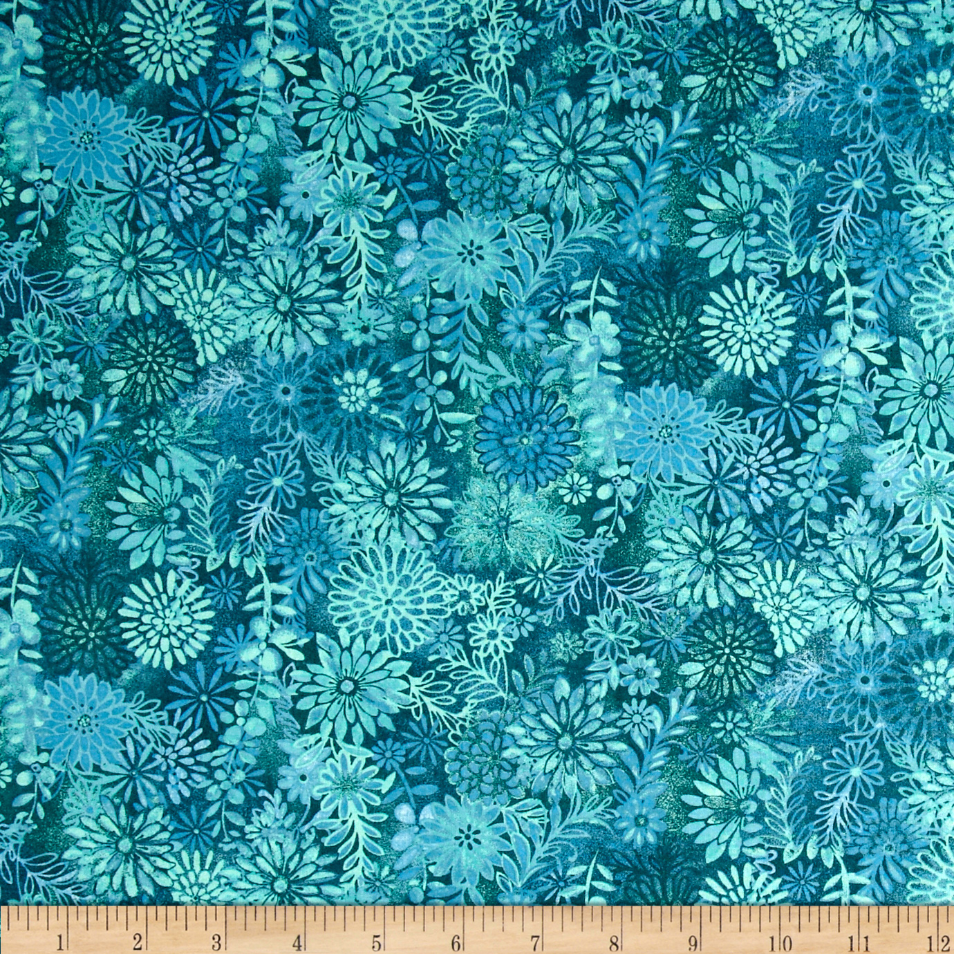 Packed Floral Tonal Teal Fabric by Santee in USA