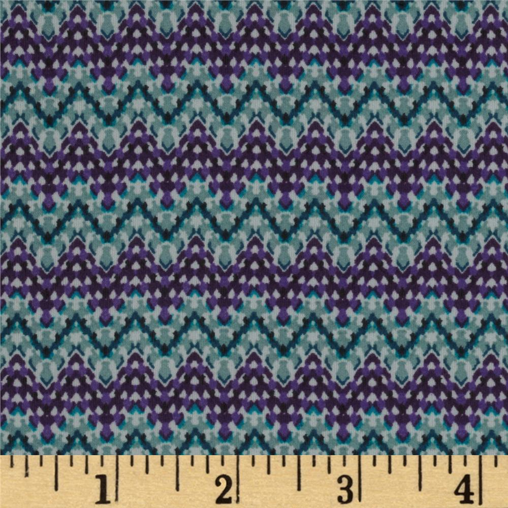 Chiffon Zig Zag Stripes Purple/Blue