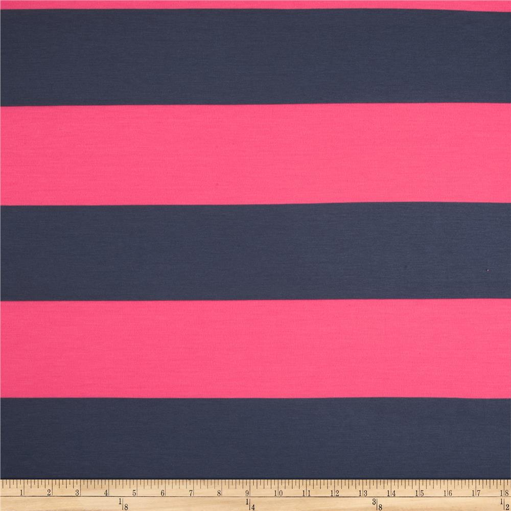 Designer Yarn Dyed Jersey Knit Stripes Hot Pink/Charcoal