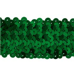 1 1/2'' Metallic Stretch Sequin Trim Green