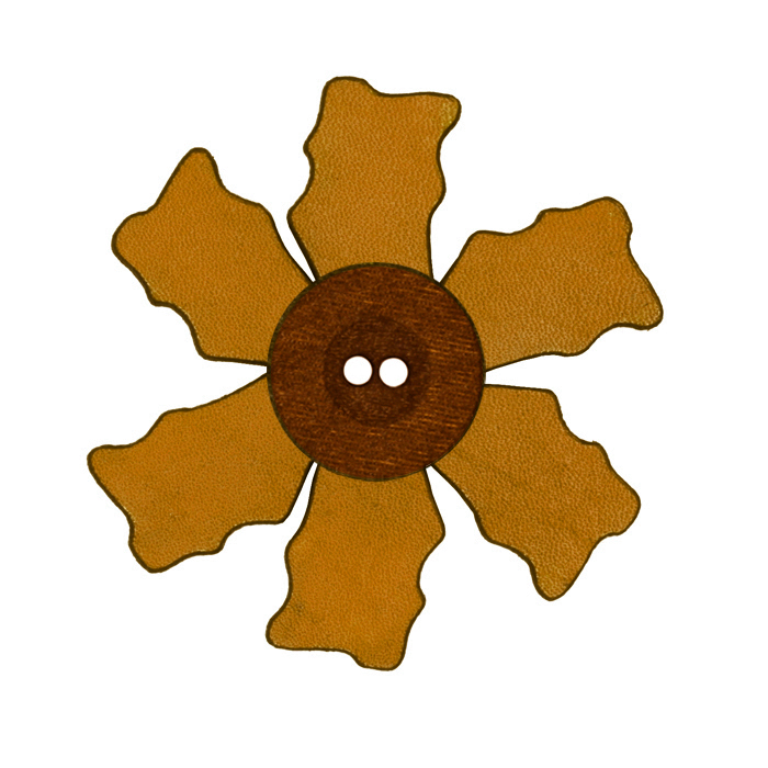 2.25'' Leather Button Flower Tan