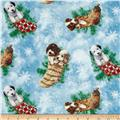 Holiday Pups Tossed Stocking Blue