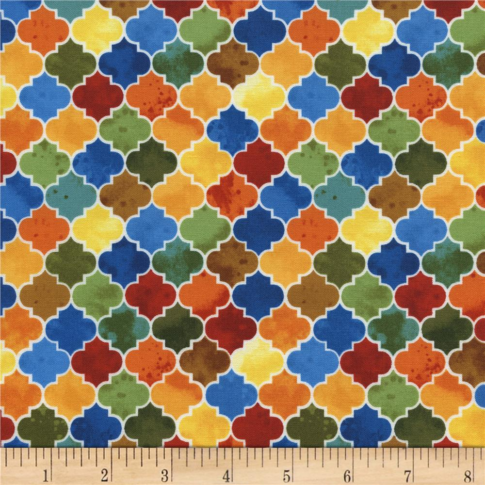 Timeless Treasures Wild Gold Moroccan Tile