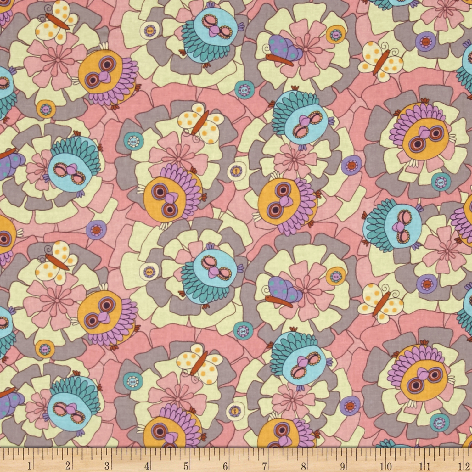 Image of Seven Islands Owls Pink Fabric