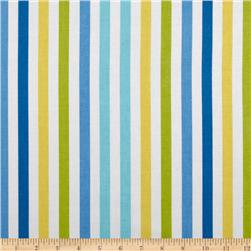 Waverly Line Up Stripe Twill Bluebell Fabric