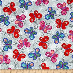 Joyful Medley Butterflies Gray