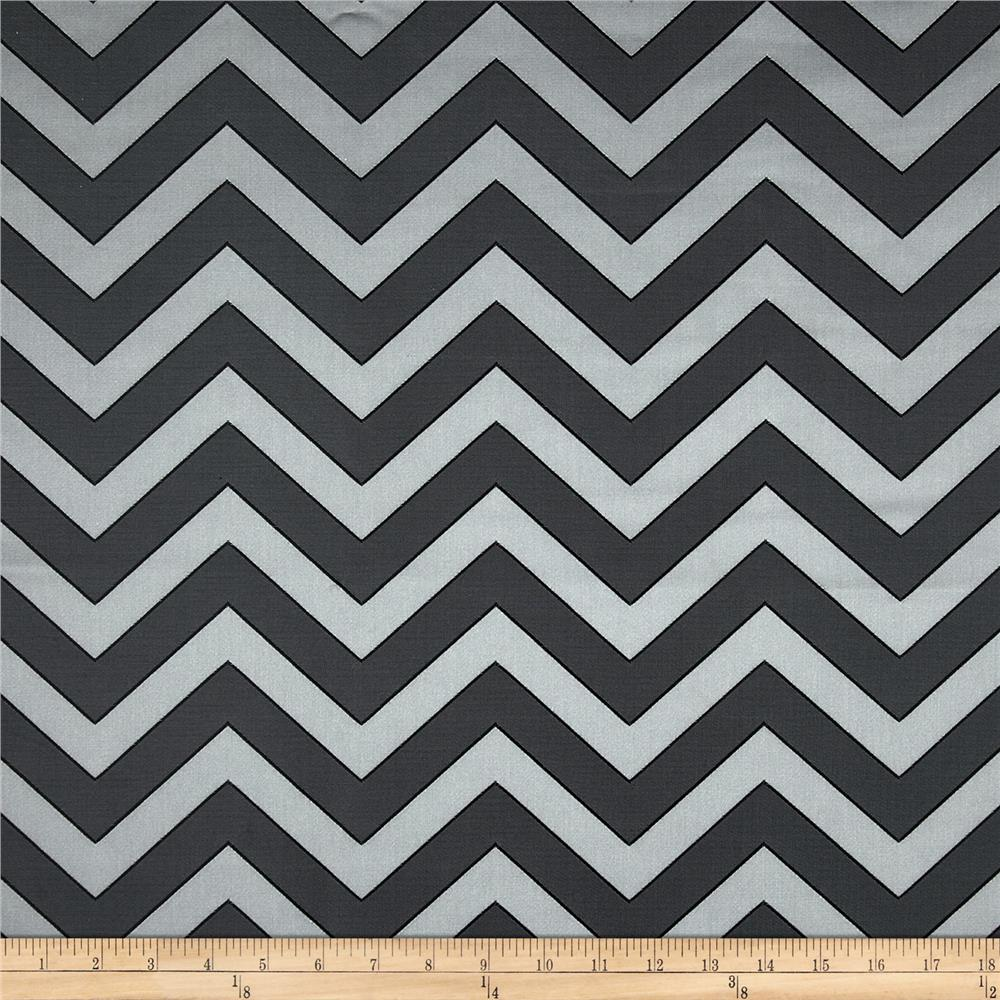 Rella Chevron Satin Jacquard Charcoal Fabric By The Yard