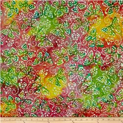 Indian Batik Butterflies Pink/Lime/Yellow