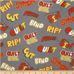 Quilt Girl Words Black Fabric