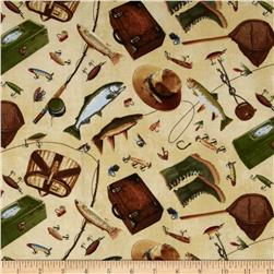 Norman Rockwell Vintage Fish Tackles Natural Fabric